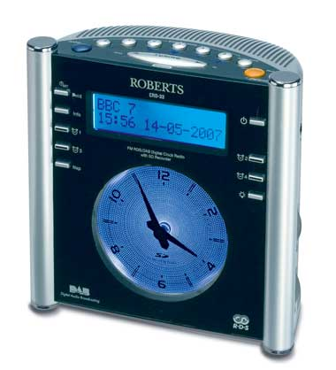radio roberts crd 33 dab alarm clock digital radio with analogue clock. Black Bedroom Furniture Sets. Home Design Ideas