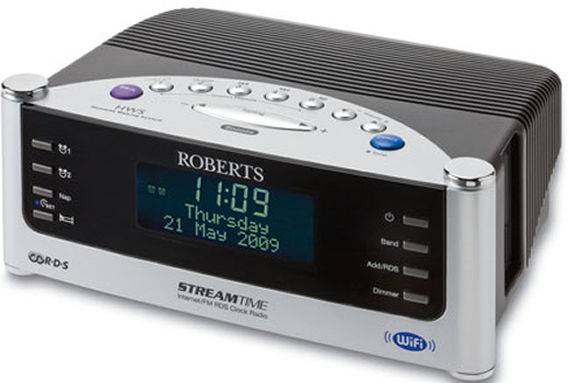 roberts streamtime wi fi internet radio alarm clock with fm roberts stream time radio. Black Bedroom Furniture Sets. Home Design Ideas