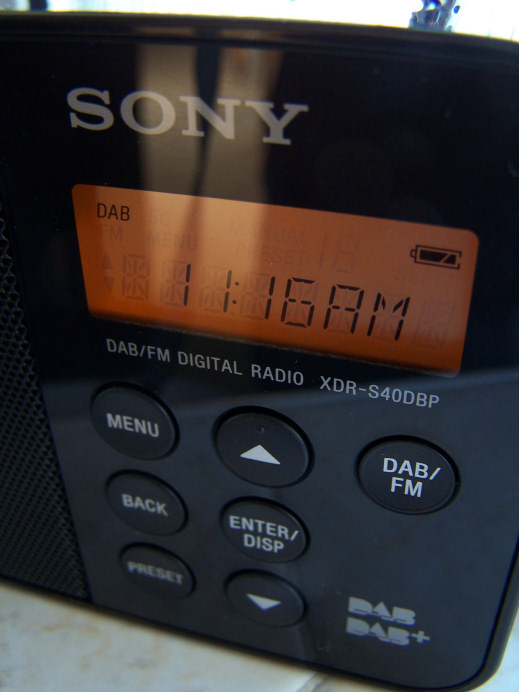 Sony XDR S40DPB DAB portable digital radio display and buttons