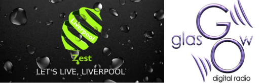 Zest Liverpool and Go Radio Glasgow logos